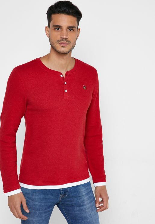 Button Detail Crew Neck T-Shirt