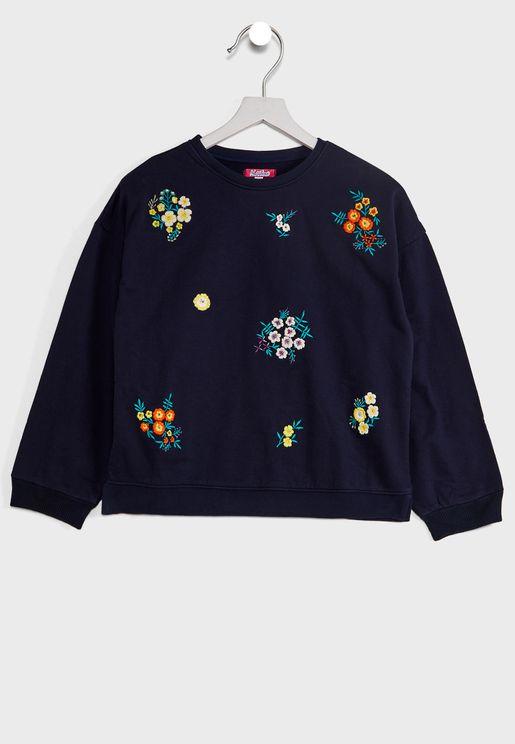 Natilene Floral Embroidered Sweatshirt