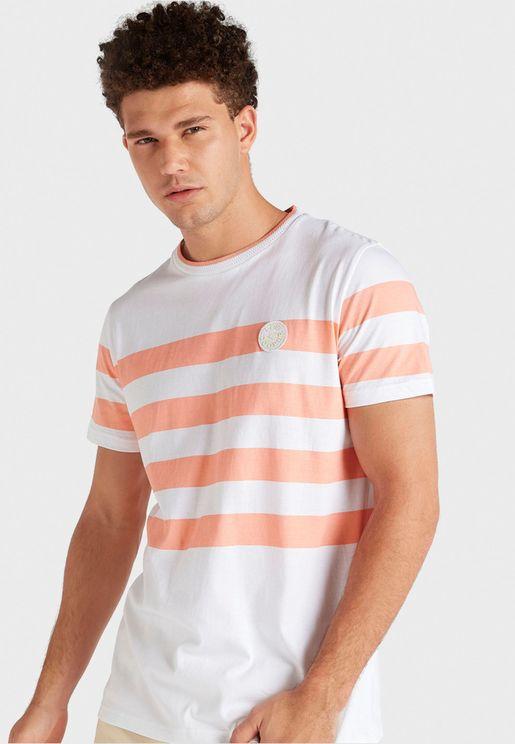 Striped Panel Crew Neck T-Shirt
