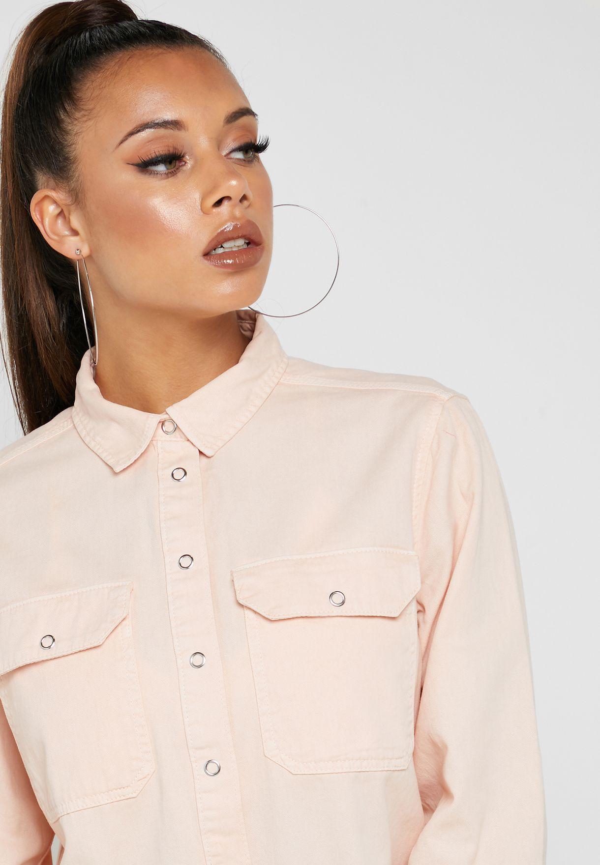Pocket Detail Raw Hem Shirt
