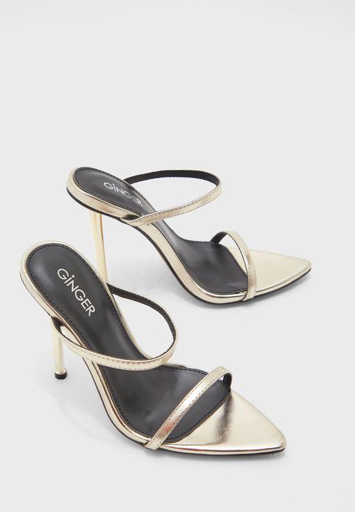 Metallic Heel Sandal