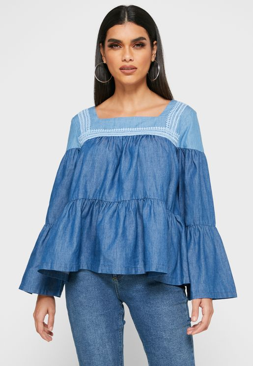 Tired Hem Denim Top