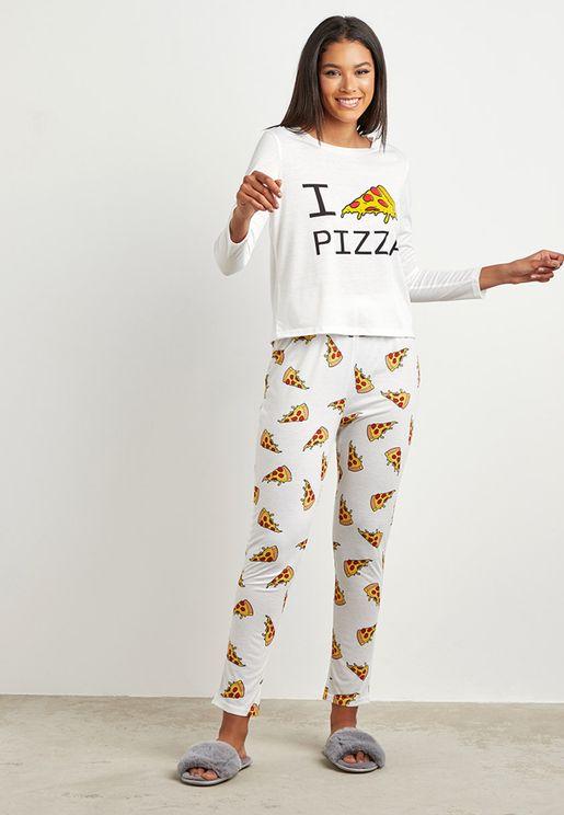 طقم بيجاما بطبعة بيتزا