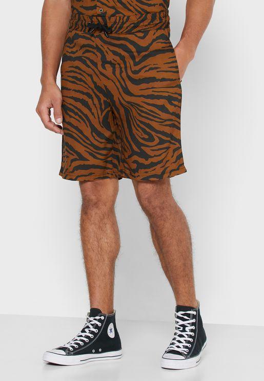 Tiger Printed Shorts
