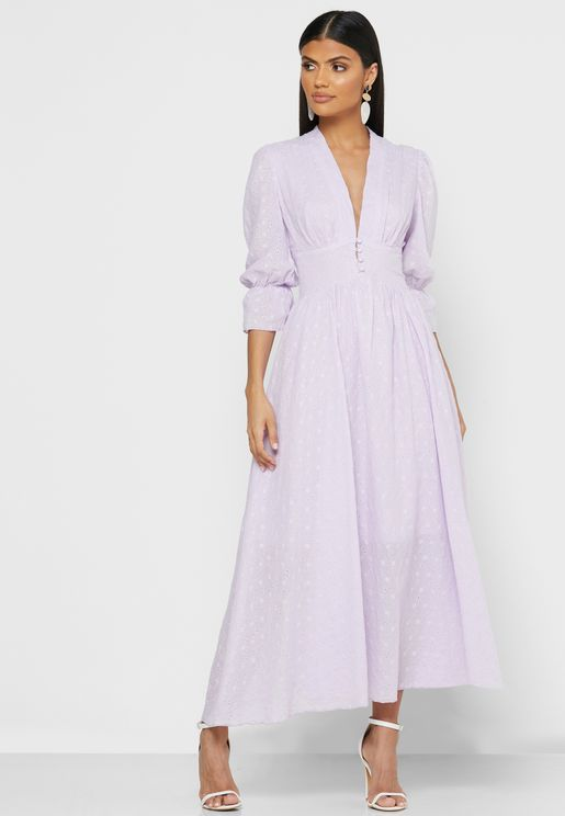 Plunge Neck Puffed Sleeve Maxi Dress