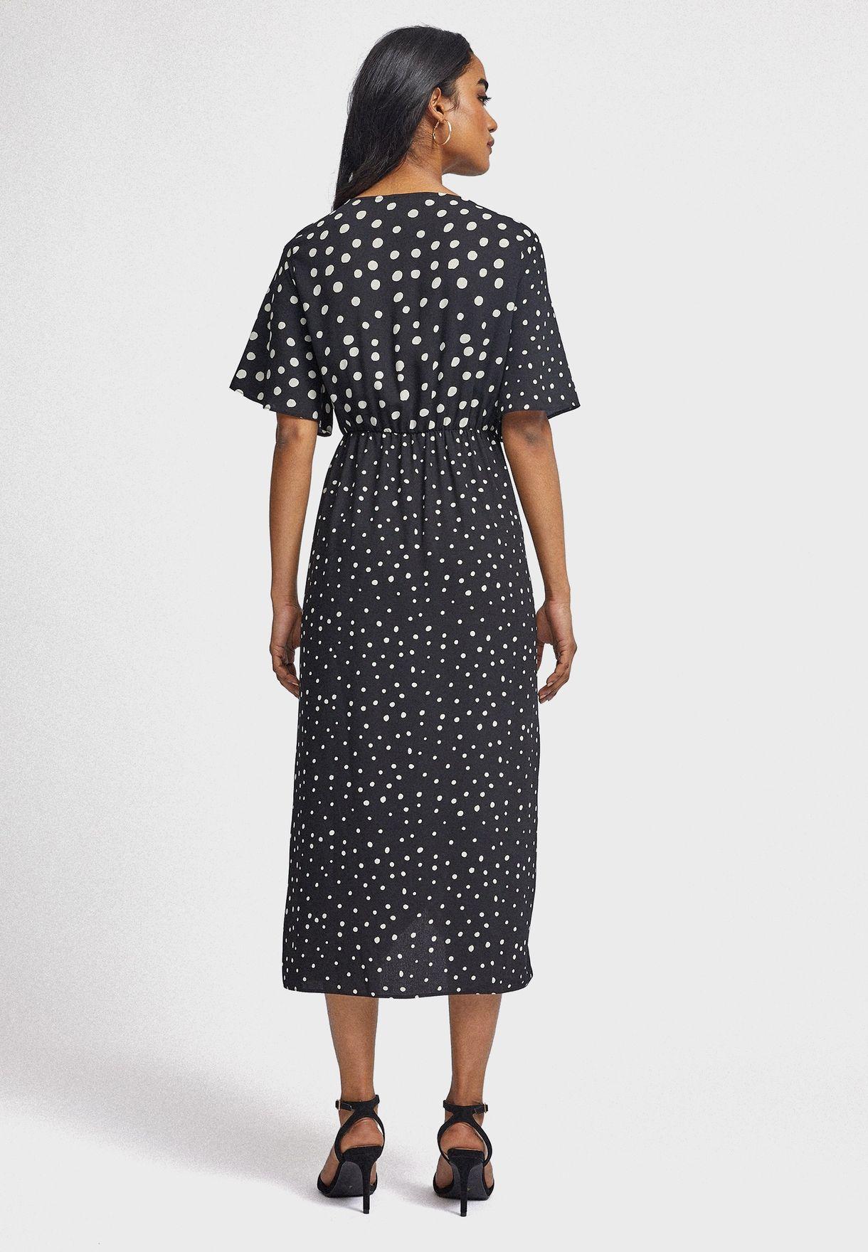 Asymmetric Printed Wrap Dress