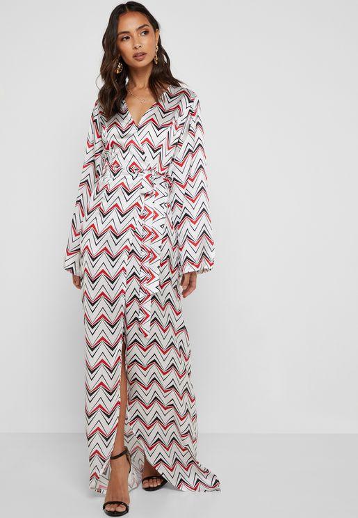 Geo Print Wrap Front Maxi Dress