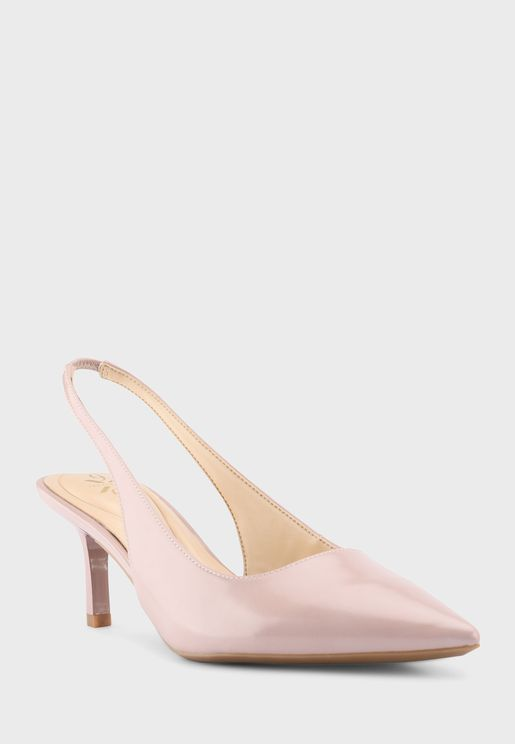 Wnkately9X93 Pointed Sling Back Mid-Heel Sandals