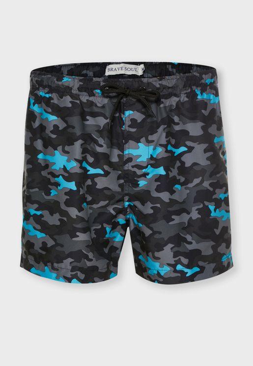 شورت سباحة بطبعات جيش