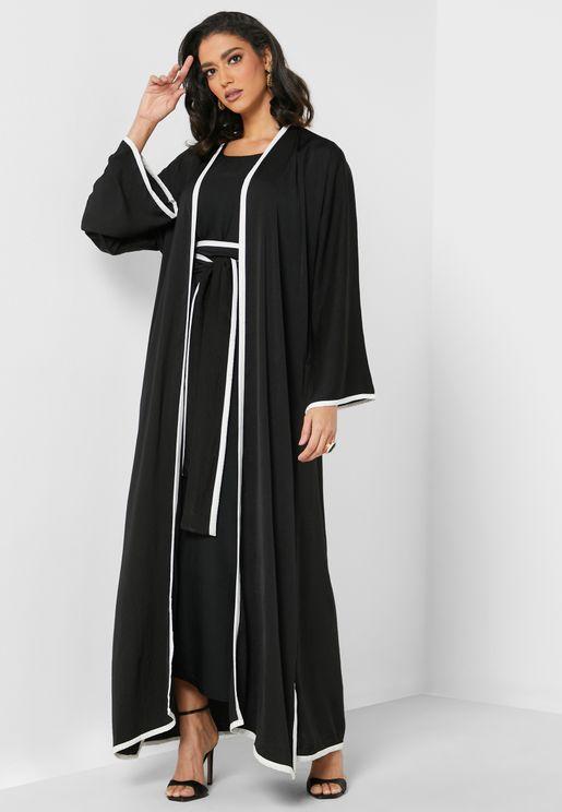 Remi Contrast Detail Abaya Set