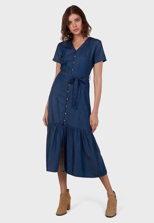 Ruffle Hem Belted Shirt Dress
