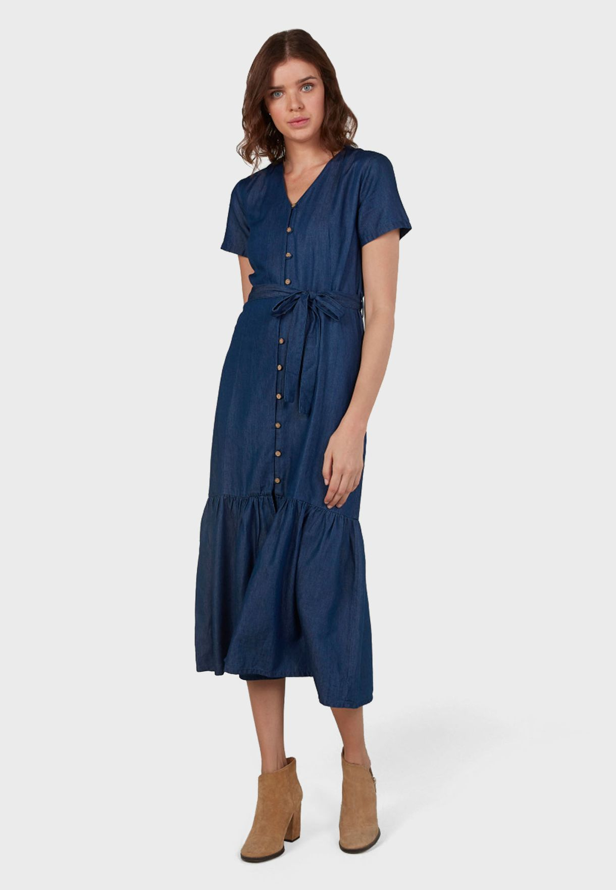 Ruffle Hem Belted Shirt Dress