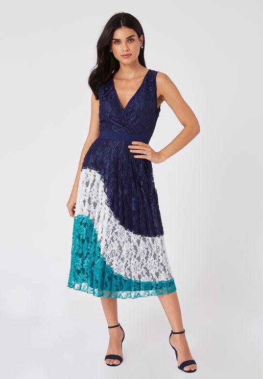 Colorblock Pleated Dress