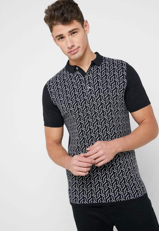 Geometric Knitted Polo