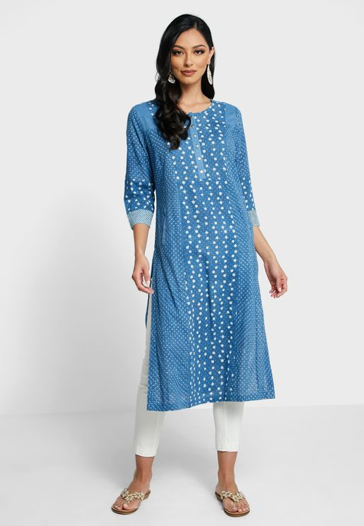 Cotton Round Neck Long Kurta