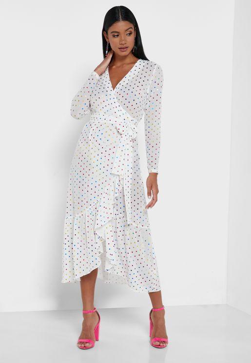 Spot Detail Wrap Midi Dress