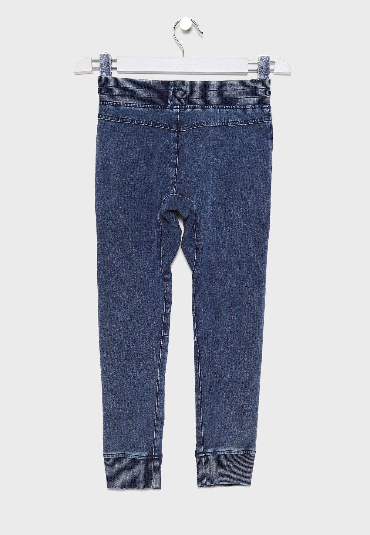 جينز باربطة خصر للاطفال