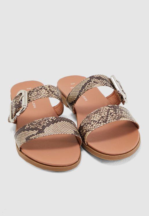 Stone Faux Snake Footbed Sandal