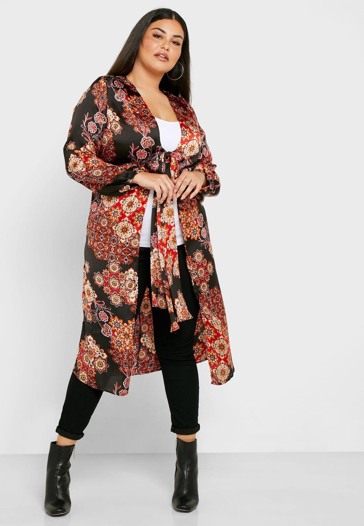 Front Tie Printed Kimono