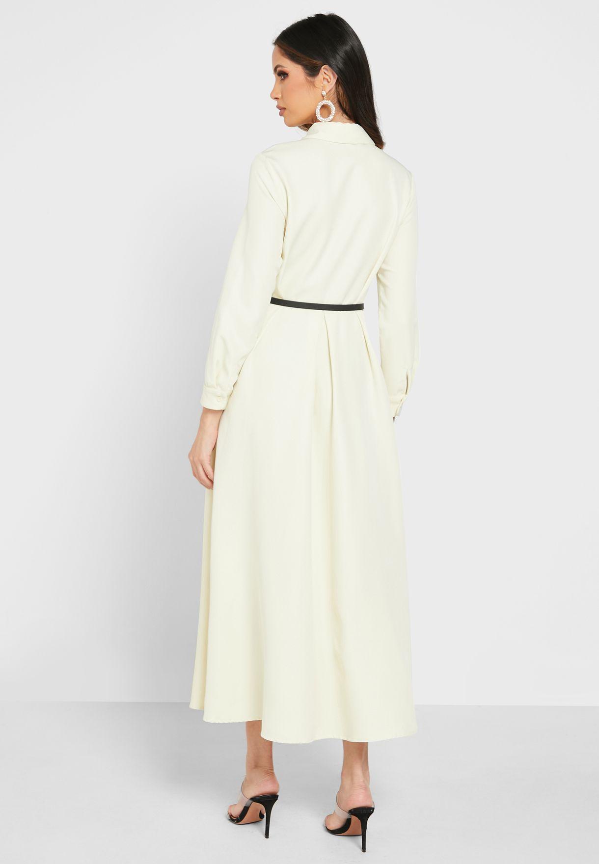 Belted Button Through Dress