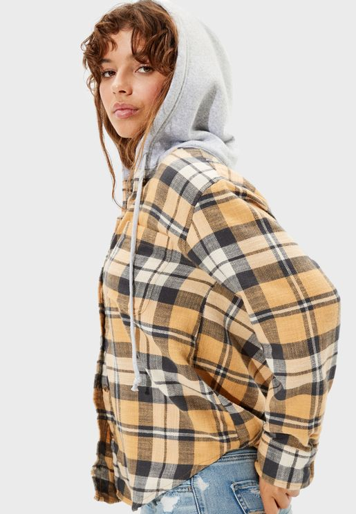 Checked Hooded Jacket