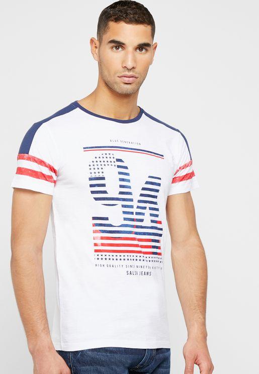 Stripes Varsity Crew Neck T-Shirt