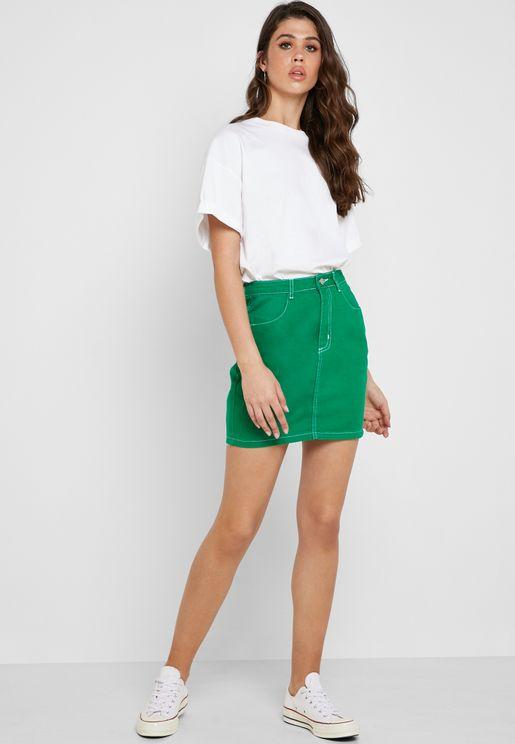 Contrast Details Denim Skirt