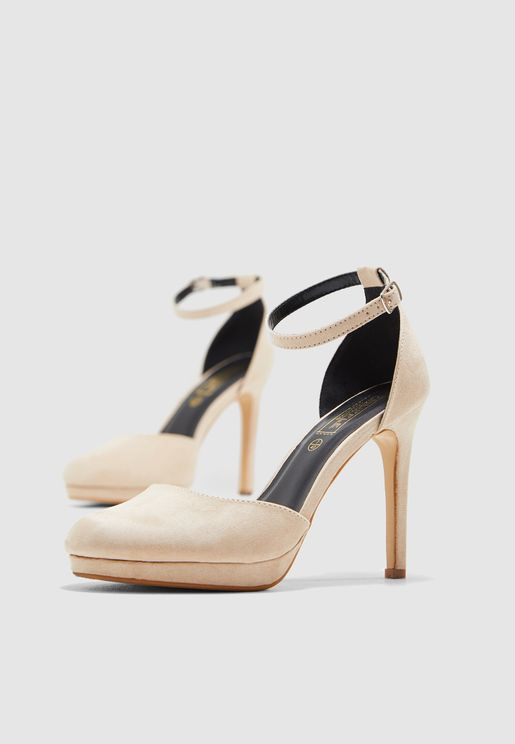 737f002029e Platform Court Shoe With Ankle Strap