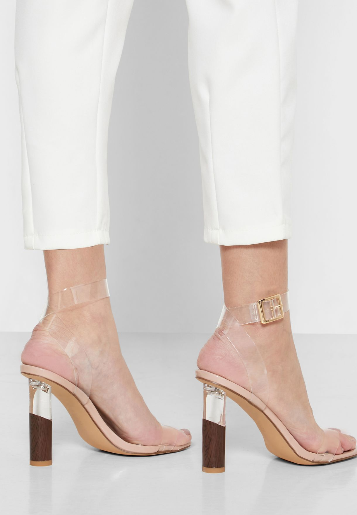 Feature Heel Clear Strap Sandals