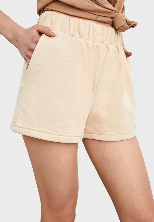 Elastic Waist Mini Shorts