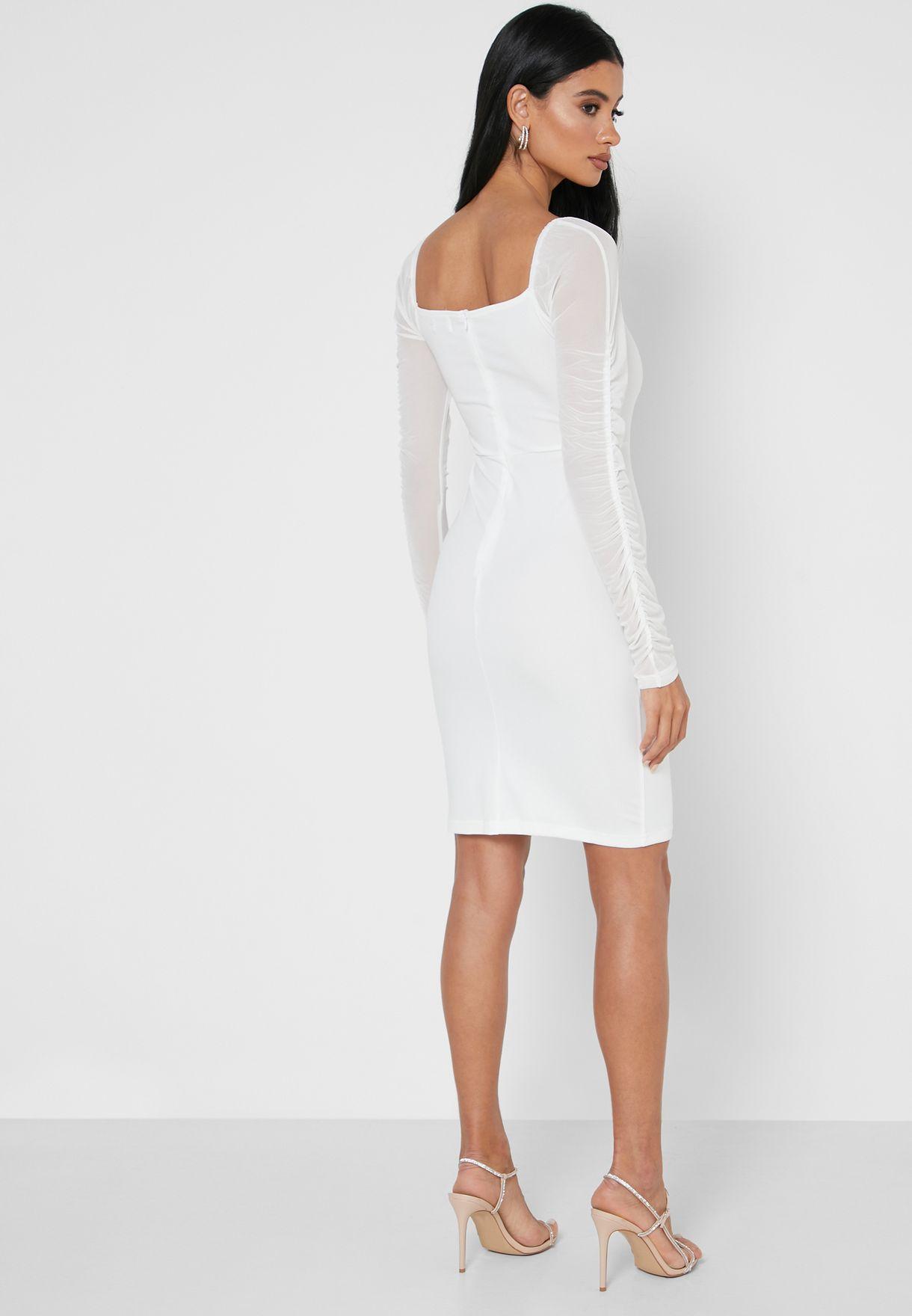 فستان ميني باكمام شبك