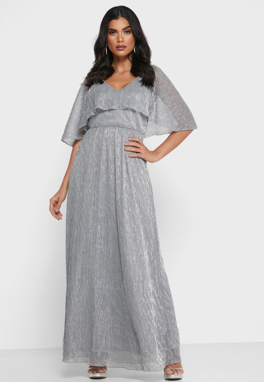 فستان لامع مكشكش