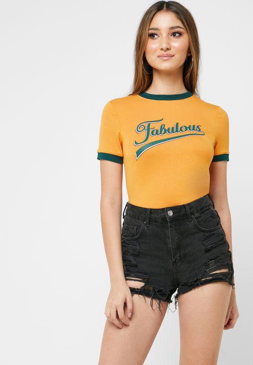 Ringer Slogan T-Shirt
