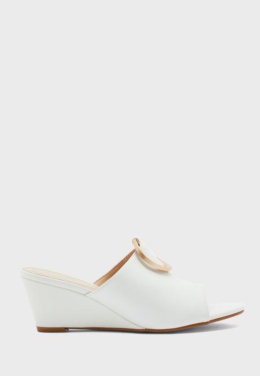 Buckle Detail Wedge Low Heel Sandal