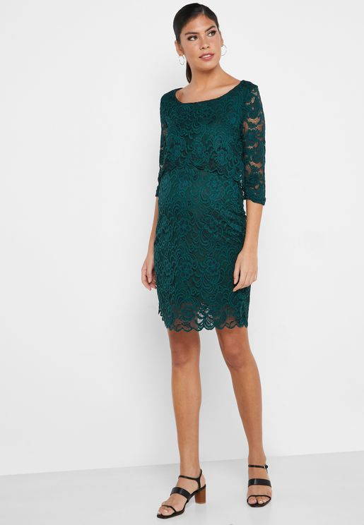 Sheer Sleeve Lace Dress