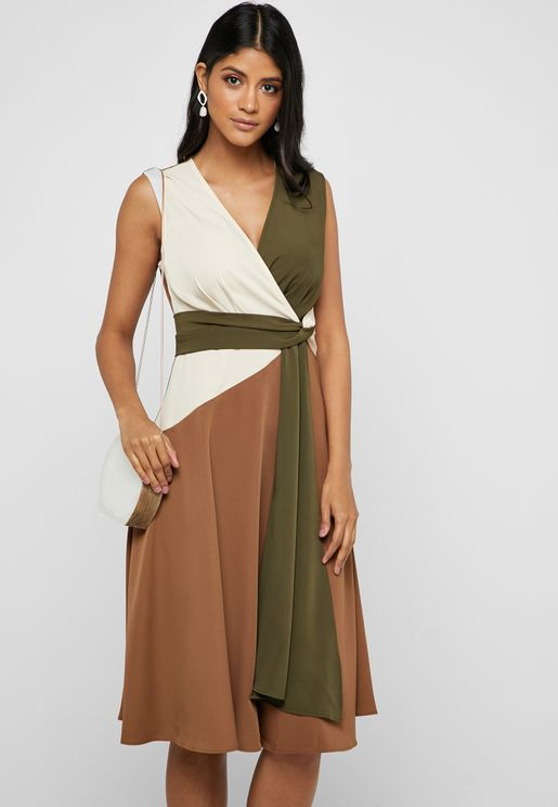 Colourblock Wrap Front Midi Dress