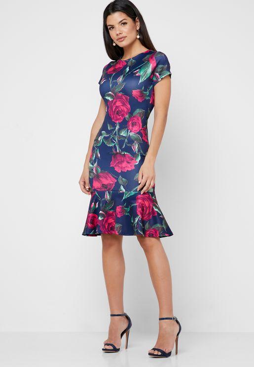Ruffle Hem Rose Print Dress