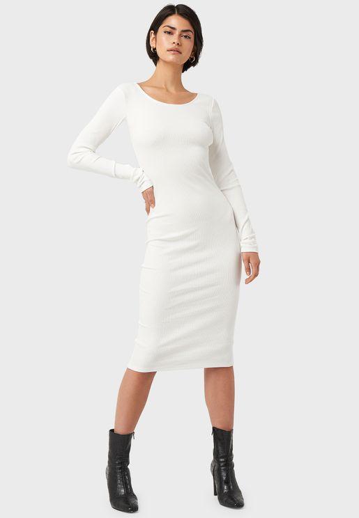 Ribbed Wrap Back Midi Dress