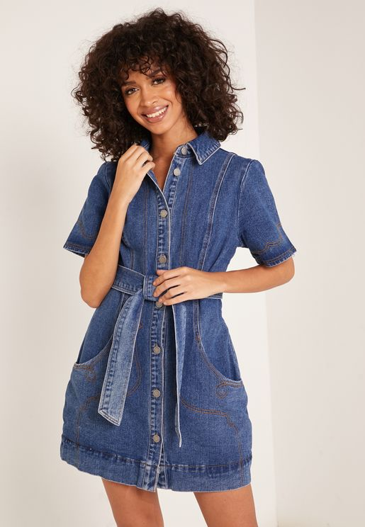 Lifetime Tie Waist Denim Shirt Dress