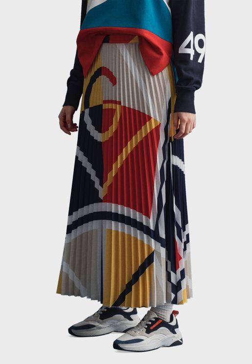 Colorblock Pleated Midi Skirt