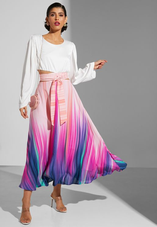 Ombre Volume Skirt With Tie Up