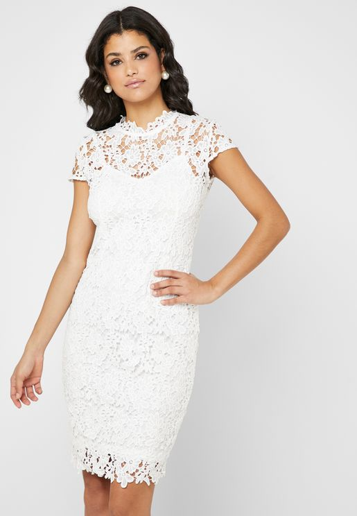 Crochet Lace Detail High Neck Dress