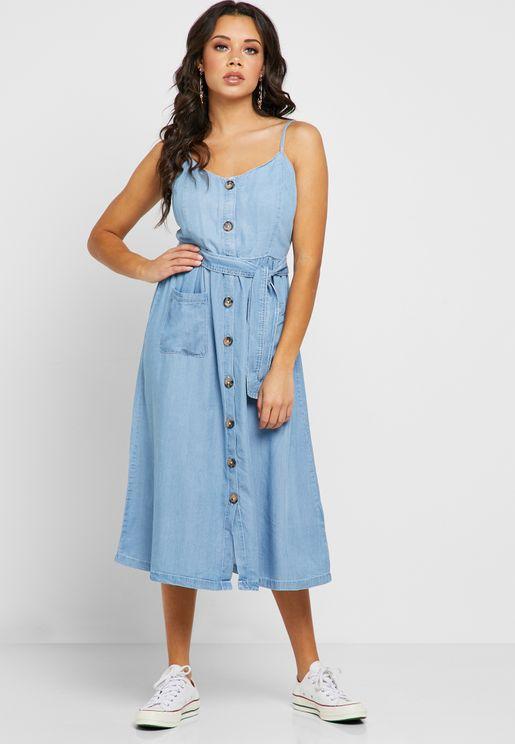 e4de1f9f779 Button Through Denim Dress
