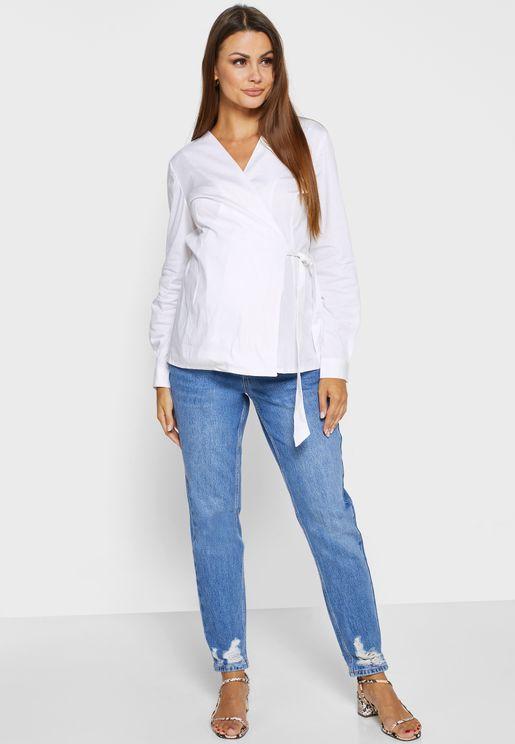 جينز الامهات بخصر عالي
