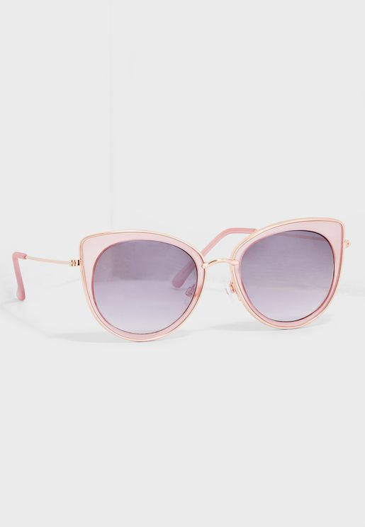 Metal Trim Cat Eye Sunglasses