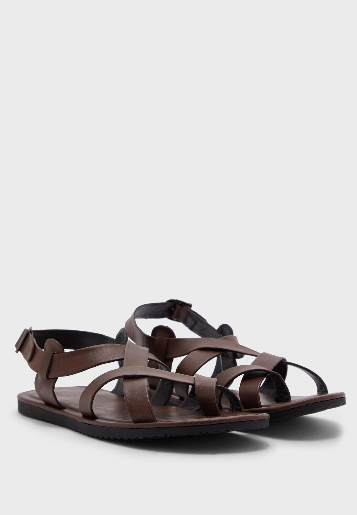 Cross Strap Sandals With Back Strap