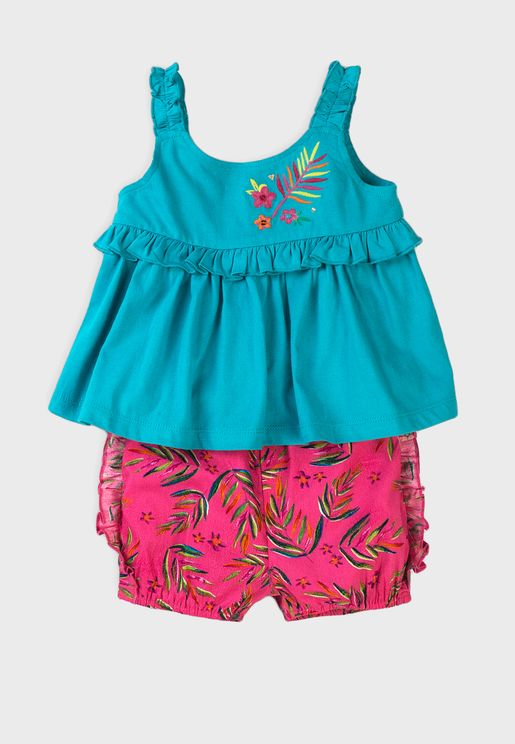 Infant Frill Detail Top + Shorts Set