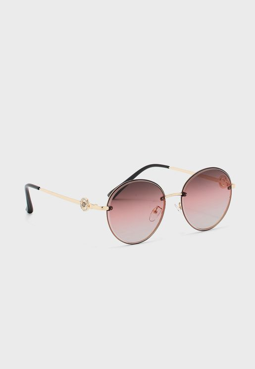 Round Lens Sunglasses With Diamante Circle Feature