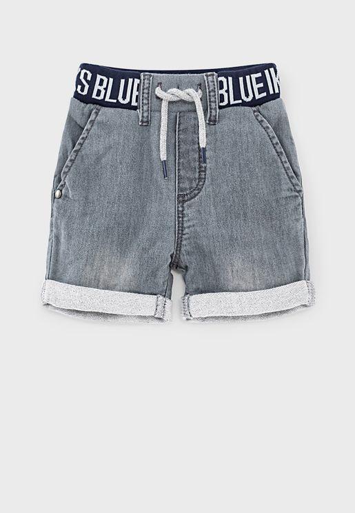 Kids Tie Waist Denim Shorts