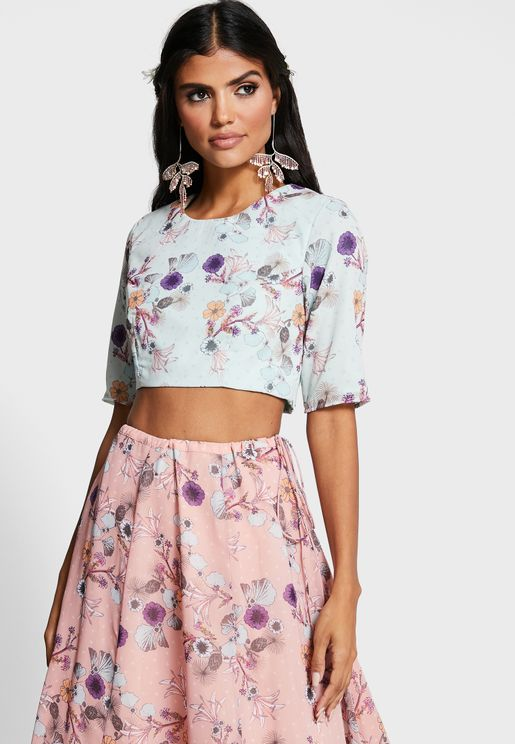 Indya X Payal Singhal Mint Floral Crop Top